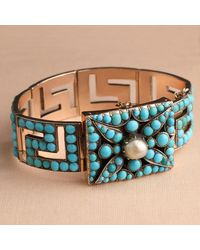 Erica Weiner Victorian Rose Gold And Turquoise Greek Key Bracelet - Blue