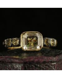 Erica Weiner Stuart Crystal Mourning Ring With Cherubs - Metallic