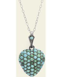 Erica Weiner Victorian Turquoise Pavé Heart Locket - Blue