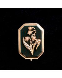 Erica Weiner Victorian Bloodstone, Pearl & Coral Lily Of The Valley Brooch - Black