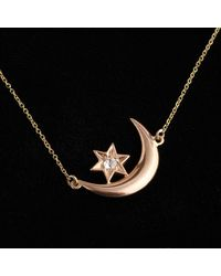Erica Weiner Victorian Crescent Moon And Diamond Star Necklace - Black