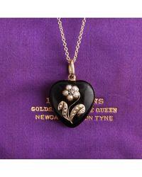 Erica Weiner Victorian Black Enamel, Pearl And Diamond Heart Locket - Purple