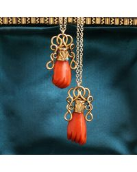 Erica Weiner Victorian Carved Coral Fist In Ornate Gold Mounting - Blue