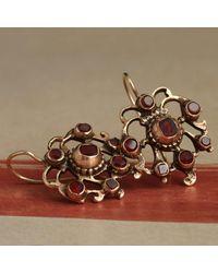 Erica Weiner Georgian Gilt Silver Garnet Earrings - Multicolor