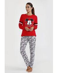 Disney Pijama Manga Larga Mickey All Stars - Rojo