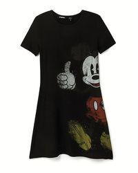 Desigual Vestido Camisetero Mickey Mouse - Negro