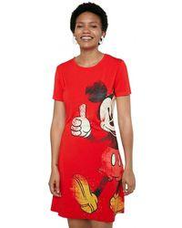 Desigual Vestido Camisetero Mickey Mouse - Rojo