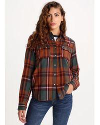 Lois Camisa cuadros Brink-Praga Franela marrón, - Verde