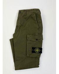 Stone Island Brushed Cotton Canvas Cargo Trousers Black Khaki - Multicolour