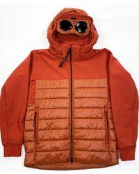 C.P. Company C.p Company Mixed Fabric Hooded Goggle Jacket - Orange