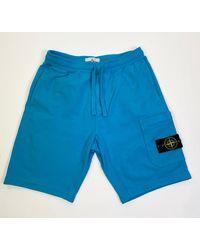 Stone Island 63560 T.co+old Fleece Shorts Teal - Blue