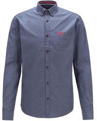 BOSS by HUGO BOSS Regular-fit Button-down Shirt In Stretch-cotton Poplin - Blue
