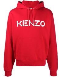 KENZO Logo Hooded Sweatshirt - Red