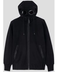 C.P. Company C.p Company Diagonal Raised Fleece Goggle Hoodie - Black