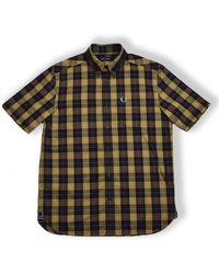 Fred Perry Check Short Sleeve Shirt M1577 - Black