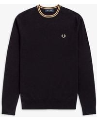 Fred Perry Classic Crew Neck Jumper - Black