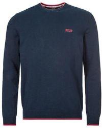 BOSS by HUGO BOSS Rimex Cotton Sweater Navy/orange - Blue