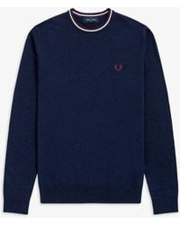 Fred Perry Classic Crew Neck Jumper Navy - Blue