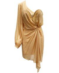 Space Style Concept One Shoulder Silk Dress - Orange