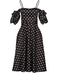Space Style Concept Polka Dot Off-shoulde Dress - Black