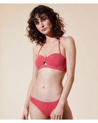 Etam Sujetador bikini bandeau, cuadros vichy, copas extraíbles - Rosa