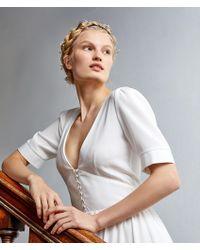Etam Vestido largo en crepé y satén - Blanco