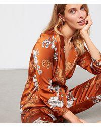 Etam Camisa pijama satén estampado floral - Marrón