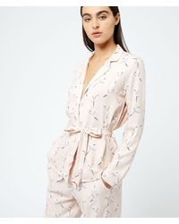 Etam Camisa pijama estampado pájaros - Rosa