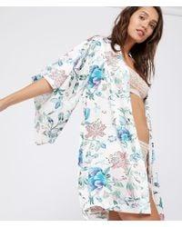 Etam Kimono de satén estampado floral - Azul