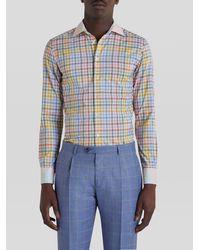Etro Camisa Dos Tejidos Motivo De Cuadros - Multicolor