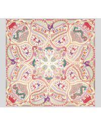 Etro Naïf Print Silk Shawl - Pink