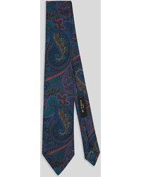 Etro Cravate En Soie Imprimé Paisley - Bleu