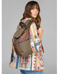 Etro Paisley-print Backpack With Jacquard Details - Brown