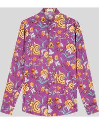 Etro Camisa De Algodón De Flores - Morado