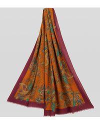 Etro Fular Paisley Floral De Seda Y Cachemira - Naranja