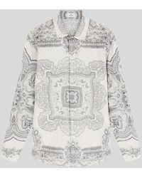Etro Camisa De Algodón Con Motivo Paisley Fular - Gris