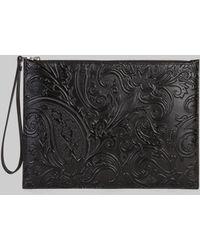 Etro Paisley Print Leather Tablet Case - Black