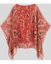 Etro Poncho De Seda Con Estampado Paisley - Rojo