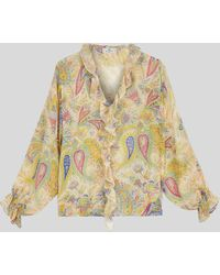 Etro Camisa De Seda Paisley Con Ruches - Multicolor