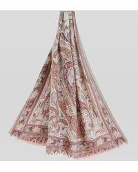 Etro Fular De Cachemira Y Seda Paisley Floral - Blanco