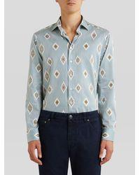 Etro Camisa Con Motivo De Rayas - Azul
