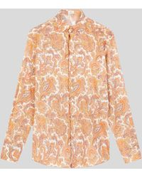 Etro Camisa De Algodón Con Paisley Floral - Naranja
