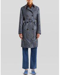 Etro Jacquard Paisley Trench Coat - Blue