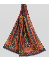 Etro Sciarpa In Cachemire E Seta Paisley - Rosso