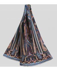 Etro Sciarpa In Seta E Cachemire Con Motivi Paisley - Blu