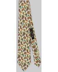 Etro Corbata De Seda Con Diseños Micro Paisley - Blanco