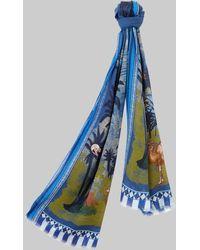 Etro Sciarpa Con Stampa Deserto - Blu