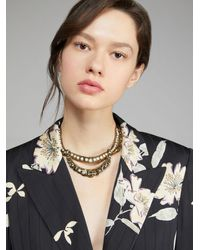 Etro Necklace With Pearls And Rhinestones - Black