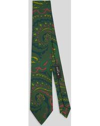 Etro Corbata De Seda Con Diseños Paisley - Verde