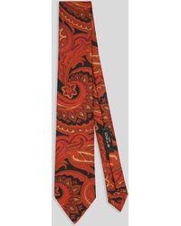 Etro Corbata De Seda Con Diseños Paisley - Naranja